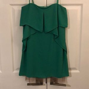 BCBG green strapless dress